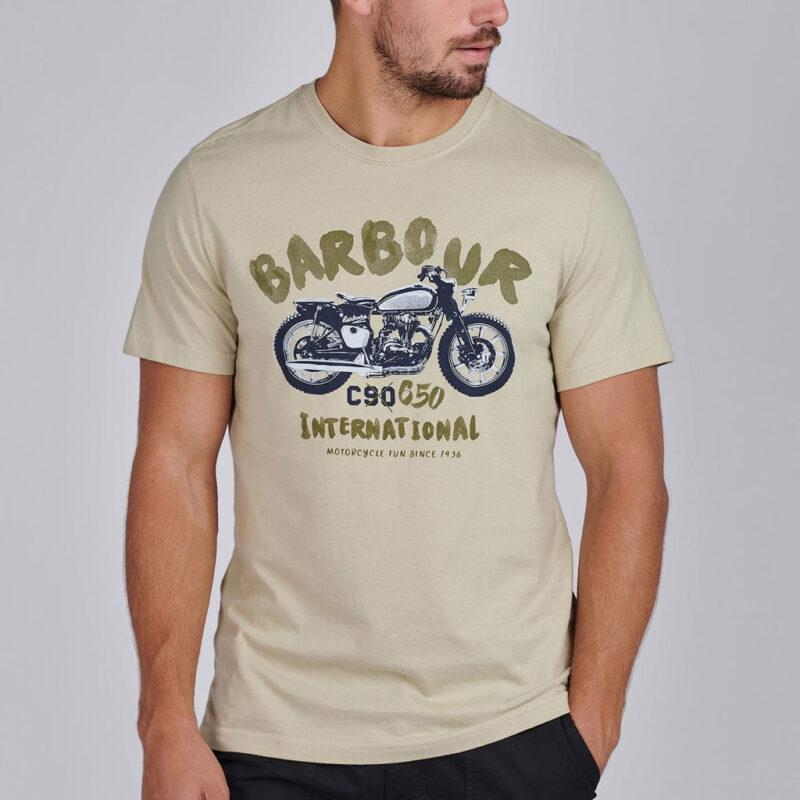 Barbour International - Bike Print Tee - Washed Stone