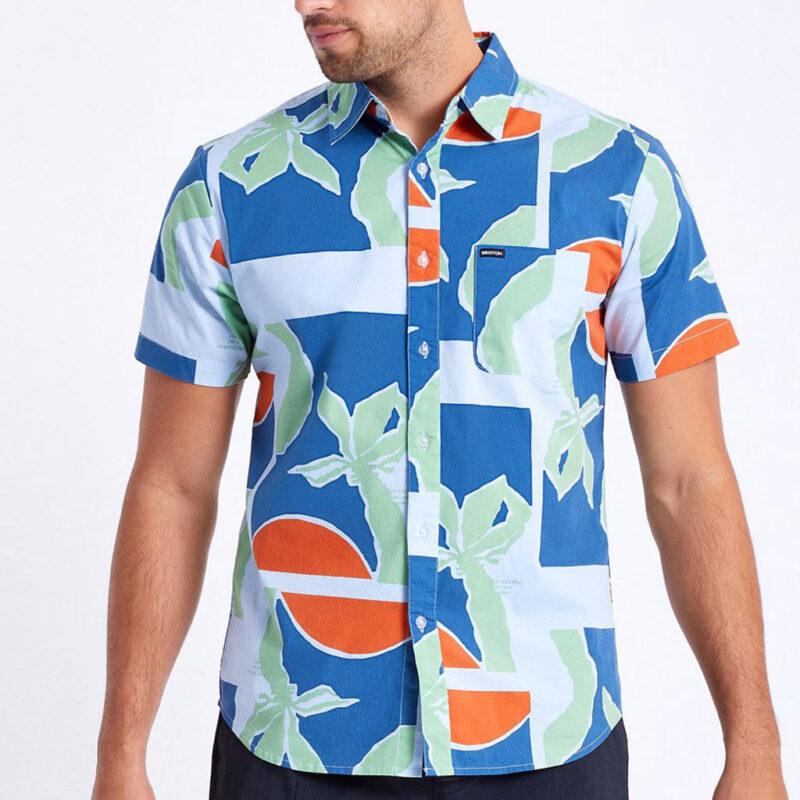 Brixton - Charter Print Shirt - Blue Fog